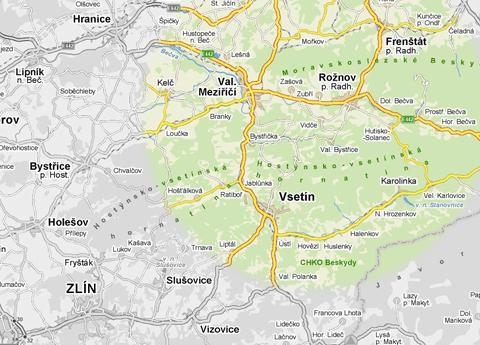 Mapa působnosti firmy Contica STAV
